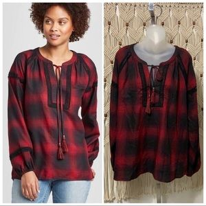 Knox Rose plaid long sleeve crew neck top szXL NWT
